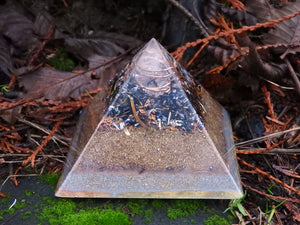 Large Fingerprint Orgonite© Pyramid.  Home Balance Orgone Pyramid.