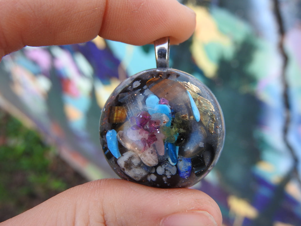 Handmade Customized Small Orgone Galaxy Pendants. (Choose Your Prominent Crystal)