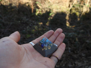 "Handmade Customized 1"" Micro Fingerprint Orgonite® Personal Size Pyramid. (Choose Your Favorite Prominent Crystal)"