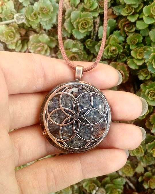 Seed of Life Handmade Customized Large Orgonite® Healing Pendants. Metaphysical Alignment Custom Jewlery (Choose Your Prominent Crystal)