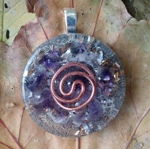 Vortex Coil Large Customized Pendants Orgone Healing . (Choose Your Prominent Crystal)