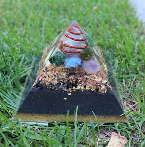 Customized Large Fingerprint Orgonite© Pyramid. (Choose Your Crystals) Home Balance Orgone Pyramid.