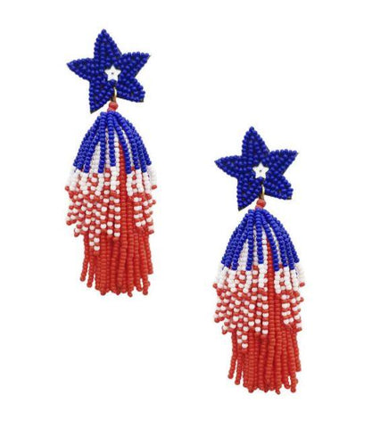 Americana Firecracker Beaded Earrings