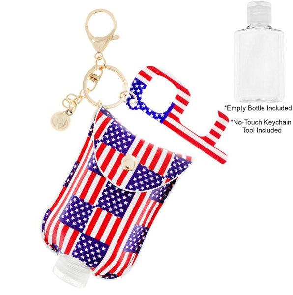 Americana Refillable Bottle Key Ring and No Touch