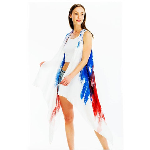 Americana Tie-Dye Sleeveless Duster