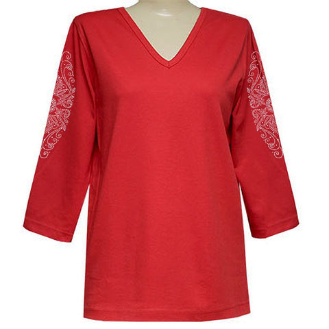 Antionette Clarice 3/4 Sleeve Classic V-Neck Shirt