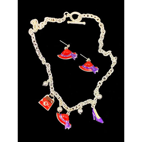 Barbara Red Hat Necklace Set