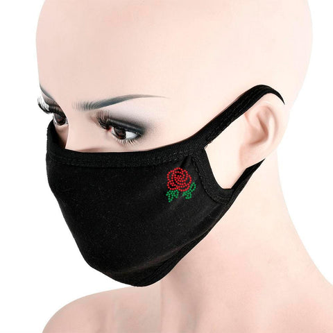 Black Rhinestone Rose Face Mask
