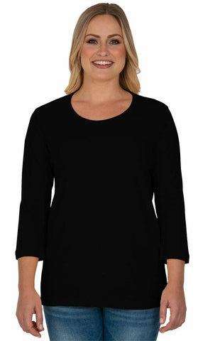 Blank 3/4 Scoop Neck Black Classic Shirt