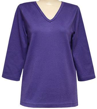 Blank 3/4 V-Neck Purple or Red Classic Shirt