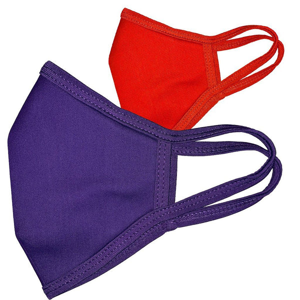 Blank Single color Purple or Red Face Masks - 2Pk