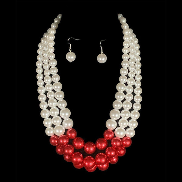 Doris Red w/White Pearl Necklace