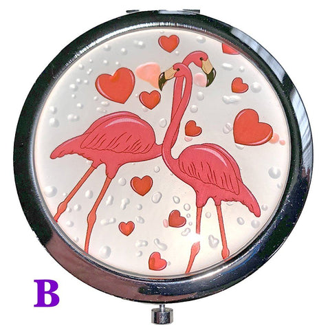 Flamingo Love Compact Mirror