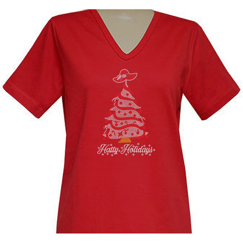 Hatty Holidays Short Sleeve Classic V-Neck