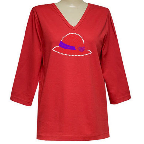 Helen Heart Hat 3/4 V-Neck Classic Shirt