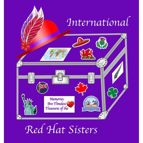 International Red Hat Sisters Button Pin