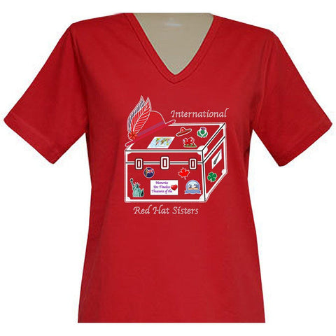 International Red Hat Sisters Short Sleeve V-Neck Classic