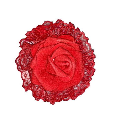 Lace Rose Flower Clip