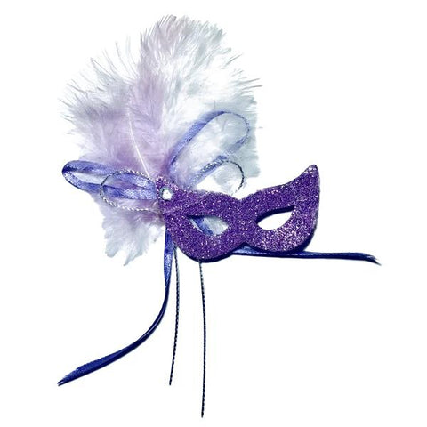 Mini Glitter Feather Mardi Gras Mask