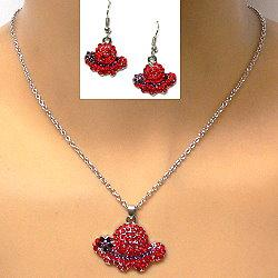 Necklace Set With Rhinestone Red Hat