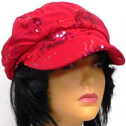 Newsboy Hat With Sequin Floral Design