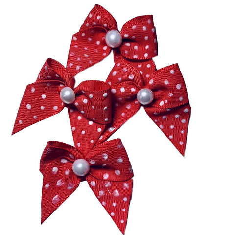 Poka Dot Mini Bows Pk of 4