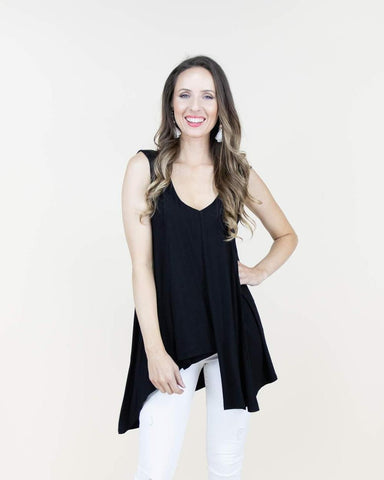 Quinn Double Layer Asymmetric V-Neck Tank Top