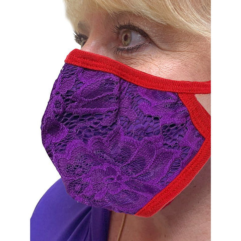 Red and Purple Lace Face Mask