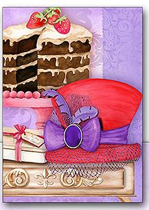 Red Hat Cake Note Card Set