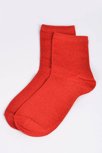 Red Metalic Socks