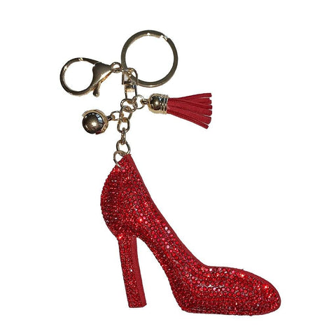 High Heel Red Rhinestone Key Ring