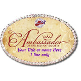 RHS - Ambassador Customizable Oval Rhinestone Name Badge Custom Royal Splendor