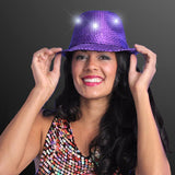 Sequin Red Fedora Hats with Blinking LEDs Hats Flashing Blinky Lights Purple