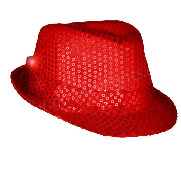 Sequin Red Fedora Hats with Flashing LEDs
