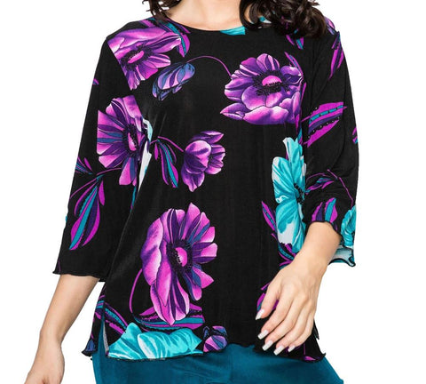 *Avee Stretchy Merrow Top 3/4 Sleeve Print