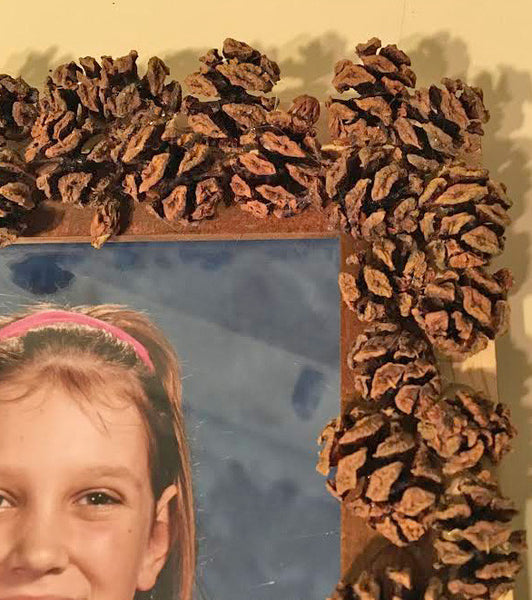 picture frame pine cones for kids birthday parties