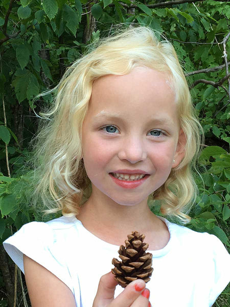 Red Pine Tree Cones with girl