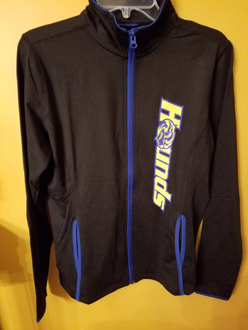 Women's Sport-Wick Stretch Black Full Zip Jacket, trimmed in Royal Blue