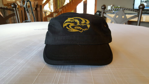 Women's Black Biker Hat with Gold Glitter Hounds Head