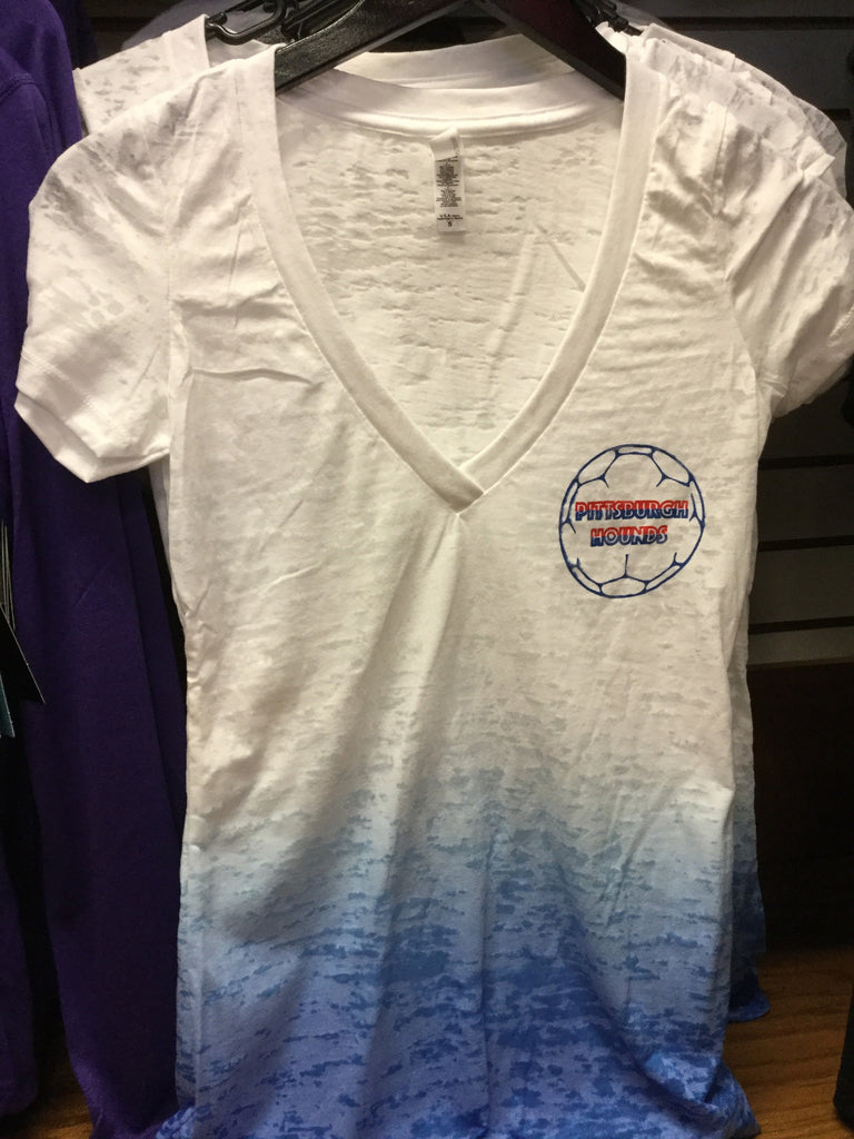 Ombré Womens Red White Blue T Shirt Pittsburgh Riverhounds Sc