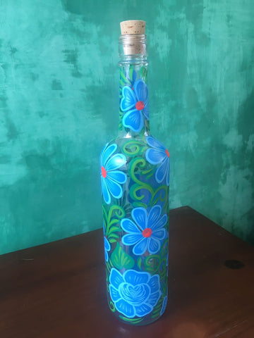 Botella Decorada con Flores