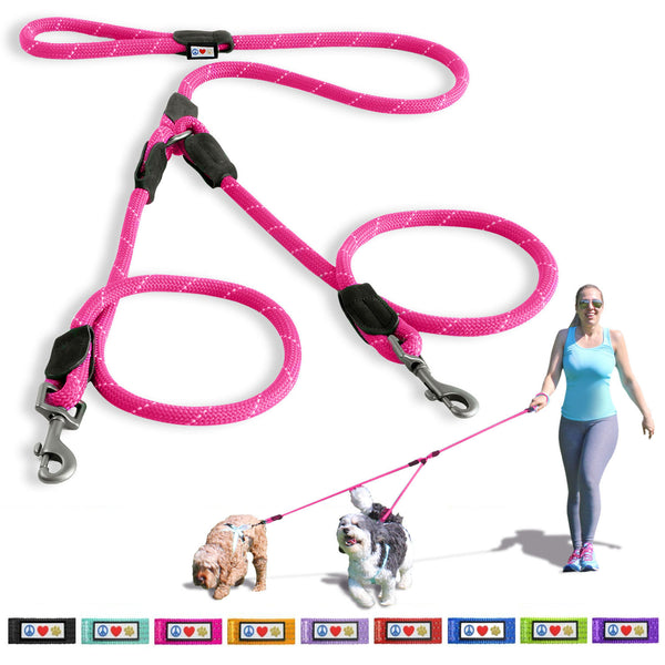 Pet Training Soft Adjustable Reflective 2 Dog Leash Walks pink