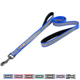 Pet Training Padded 2 Handle Reflective dog Leash blue