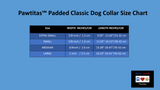 Reflective Padded Dog Collar Classic by Pawtitas size chart