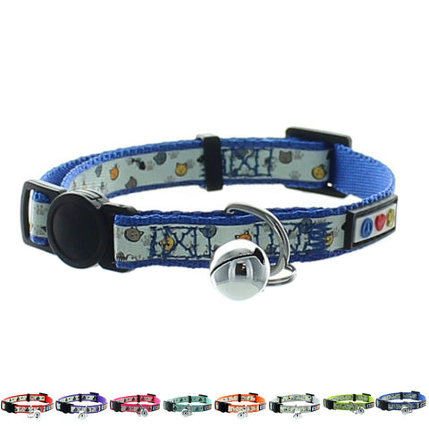Blue Glow In The Dark Cat Collar with Safety Buckle and Bell