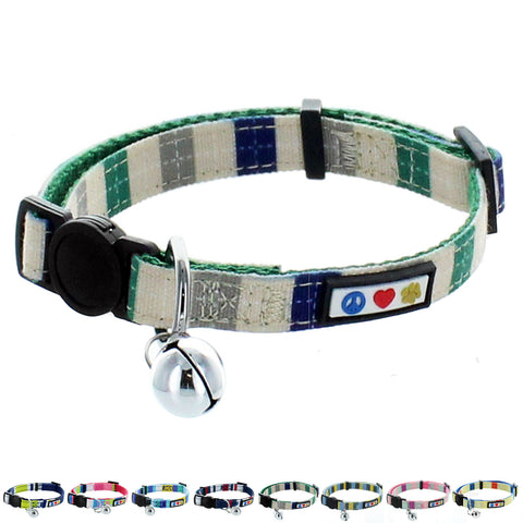 Adjustable Multicolor Cat Collar with Safety Buckle and Removable Bell blue green
