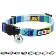 Adjustable Multicolor Cat Collar with Safety Buckle and Removable Bell teal