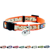 Orange Glow In The Dark Cat Collar with Safety Buckle and Bell