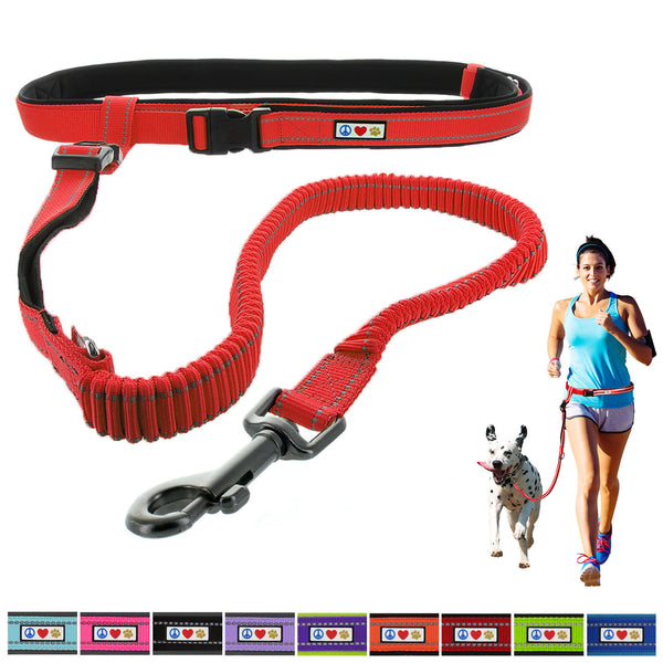 Reflective Padded Anti-shock Outdoor Training Running Dog Leash red