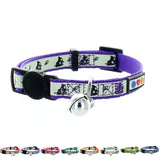 Purple Glow In The Dark Cat Collar with Safety Buckle and Bell